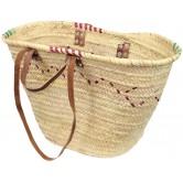 La Vannerie d'Aujourd'hui - Couffin en palmier naturel, anses en cuir