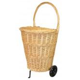La Vannerie d'Aujourd'hui - Chariot de marché en osier blanc avec couvercle