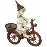 La Vannerie d'Aujourd'hui - Vélo en osier brut avec personnage en bouleau