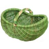 La Vannerie d'Aujourd'hui - Panier ovale cintré moelle de rotin verte