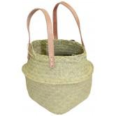La Vannerie d'Aujourd'hui - Cabas pliable rond pour déco ou pour enfant en penjy, anses en cuir