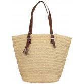 La Vannerie d'Aujourd'hui - Sac au crochet naturel grand modèle, anses cuir réglables