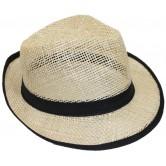 La Vannerie d'Aujourd'hui - Chapeau Panama ajouré en sisal avec bord bord tissu