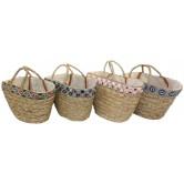 Cabas en jonc de mer, bandeau décoratif à éléments brillants