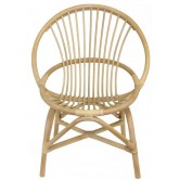 Fauteuil enfant coquille rotin naturel blanchi GM