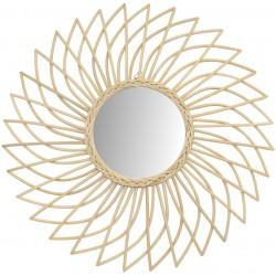 Miroir en rotin dahlia