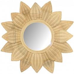 Miroir en rotin tissé moelle de rotin tournesol