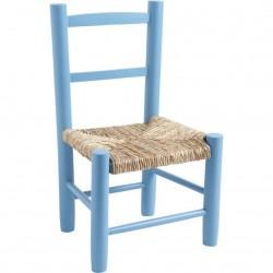 Chaise enfant paille bois bleu ciel
