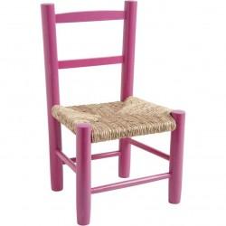 Chaise enfant paille bois framboise