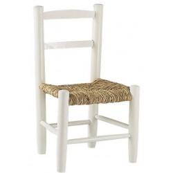 Chaise enfant paille bois laqué blanc
