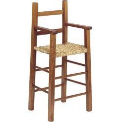 Chaise haute enfant bois foncé