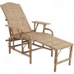 La Vannerie d'Aujourd'hui - Chaise longue en rotin avec repose pieds