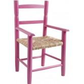 La Vannerie d'Aujourd'hui - Fauteuil pour enfant en bois laqué framboise, assise en paille