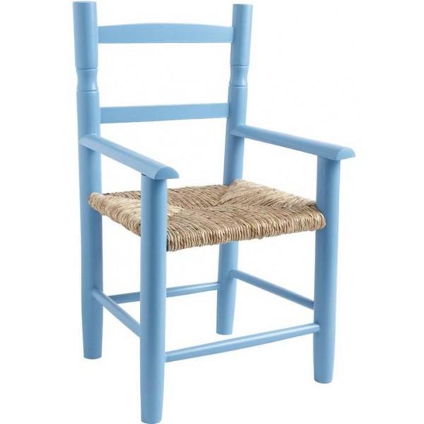 fauteuil enfant paille bois bleu ciel la vannerie d 39 aujourd 39 hui. Black Bedroom Furniture Sets. Home Design Ideas