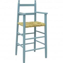 Chaise haute enfant bois bleu ciel