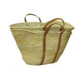 La Vannerie d'Aujourd'hui - Couffin en palmier naturel et anses cuir