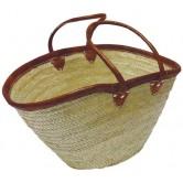 La Vannerie d'Aujourd'hui - Couffin en palmier naturel avec de grandes anses en cuir