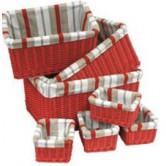 Tiroir en osier teinté doublé de tissu rayé, 4 tailles disponibles