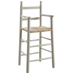 Chaise haute hêtre laqué gris taupe