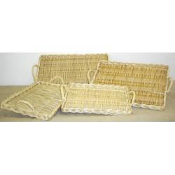 Plateau à fromages rectangulaire en osier blanc ou 2 tons 4 tailles