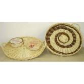 Plateau à fromages rond en osier blanc ou 2 tons 5 tailles
