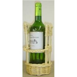 Panier porte bouteille osier blanc ou 2 tons