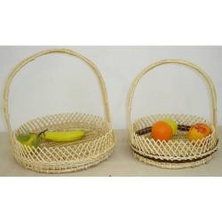 Coupe à fruits ronde crans osier blanc ou 2 tons 2 modèles