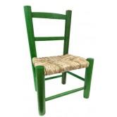 La Vannerie d'Aujourd'hui - Chaise verte pour enfant pas chère en bois et paille