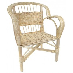 Fauteuil crapaud osier blanc