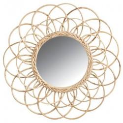 La Vannerie d'Aujourd'hui - Miroir en rotin design fleur look rétro