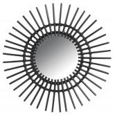 Miroir en rotin soleil teinté noir