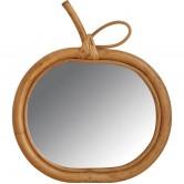 La Vannerie d'Aujourd'hui - Miroir design pomme en rotin naturel
