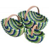 Panier en moelle de rotin naturelle avec bandes blanches , bleues et vertes
